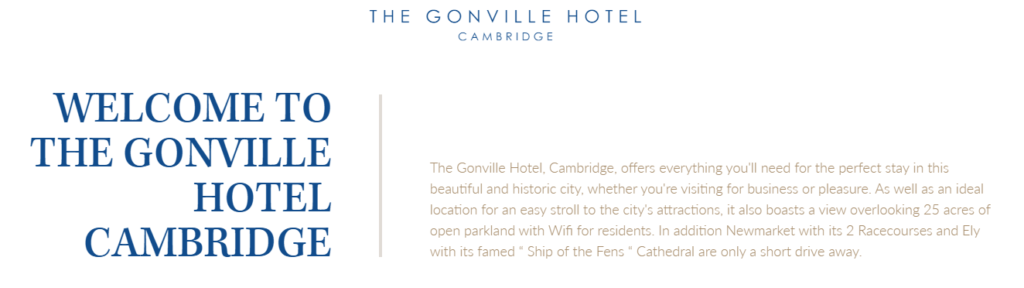 Promotional image for the Gonville Hotel